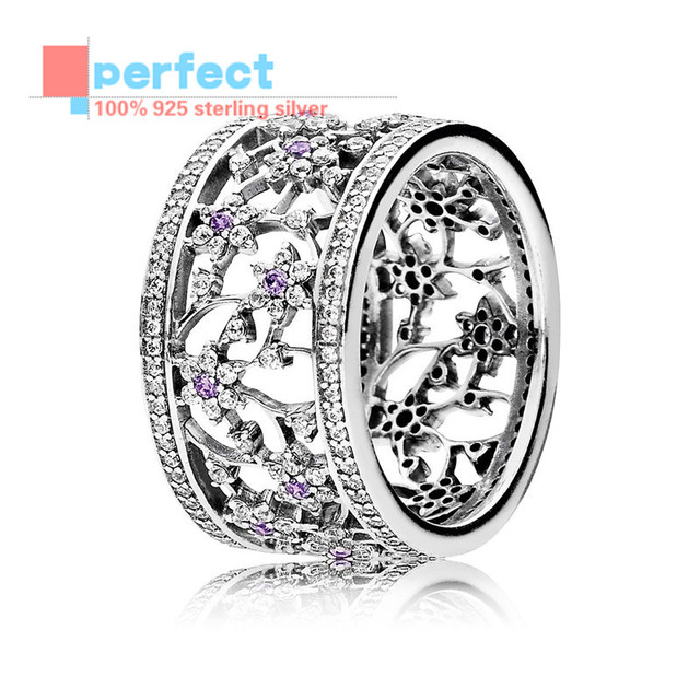 2016 NEW Compatible With Pandora Jewelry 925 Sterling Silver charm Purple & Clear CZ Flower Silver Rings For Women Fine Jewelr