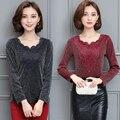 4xl плюс большой размер blusas feminina весна осень зима 2016 корейских женщин с длинным рукавом бархатные утолщение футболки женский A2297