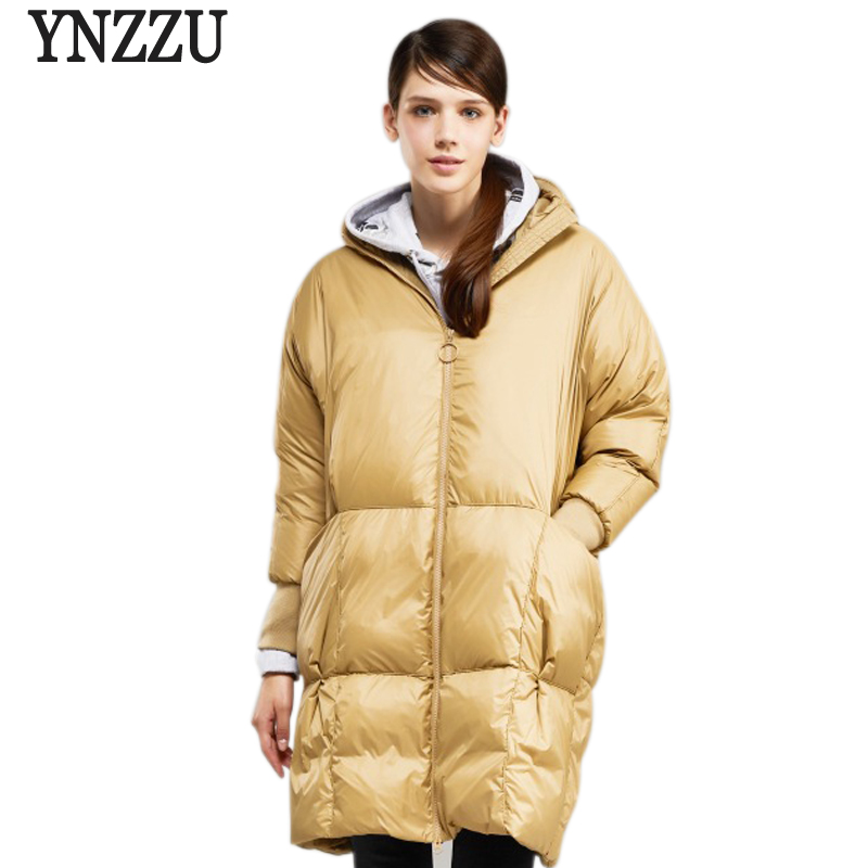 High Quality 2018 Winter Women's   Down   Jacket Solid Casual 90% White Goose   Down     Coat   Hooded Warm Loose Female Jacket AO791