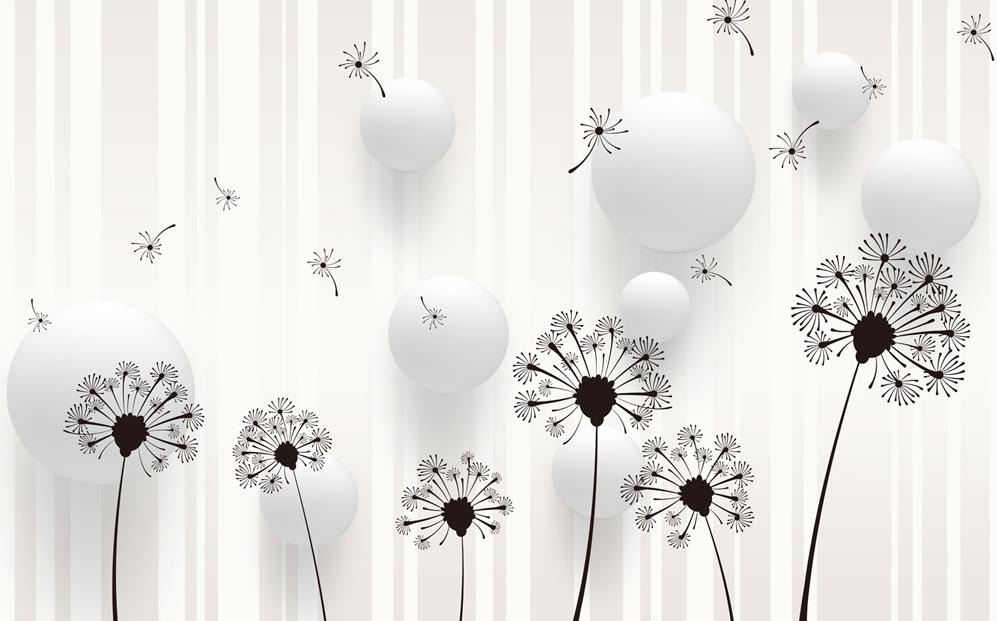 3d Wallpaper For Room Modern Minimalist Black Dandelion Background Wall Mural Customized In Wallpapers From Home Improvement On