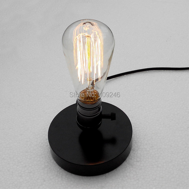 Vintage Edison Desk Light Edison Bulb Black Wood Table Light Decoration E27  Cafe Bar Coffee Shop