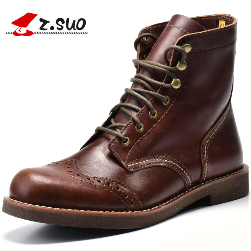 ZSUO Motorcycle Men Boots Brogue Ankle Combat Boots 2019 New Spring Genuine Leather Waterproof Buckle Military