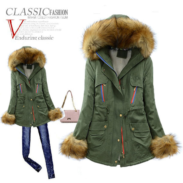 2014 Winter Contrast Color Zipper Cotton Padded Jacket Women'S Long Thick Fur Collar Hooded Stitching Coat 6 Colors 3XL H2915 2015 new noble leopard blending retro long leather fur jacket women s contrast color stitching faux fur coat female h1530
