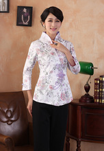 Chinese Traditional Tops Women Linen Blouse Plus Size T-shirt  M-3XL