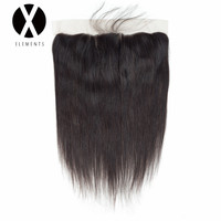 X Elements Hair Straight 13 4 Lace Frontal Human Non Remy Peruvian Natural Color Frontal Weaves