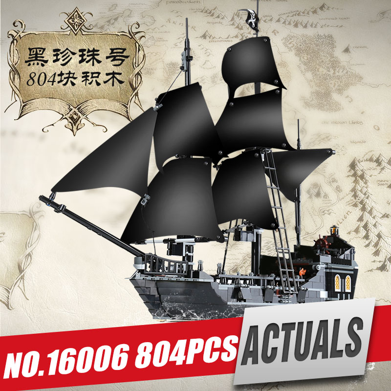 LEPIN 16006 New Pirates of the Caribbean The Black Pearl Building Blocks Set 4184 Funny Toy For Children birthday gift 487pcs pirates of the caribbean king of the sea 311 pirate ship boat model building blocks kit children toy compatible with lego