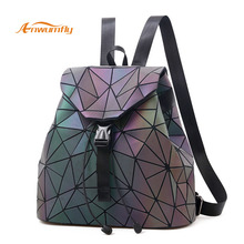 Women Laser Luminous Backpack For Ladies Female Mini Geometric Shoulder Bag Folding Student School Bag For Teenage Girl