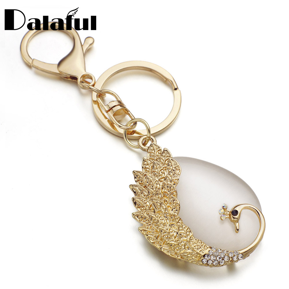 Peacock Tear Drop Opals Key Chains Rings Holder Crystal Rhinestone Leaves Bag Pendant For Car Keyrings KeyChains K291
