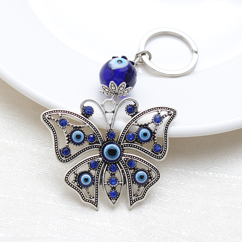 Lucky Butterfly  Keychain Evil Eye Beads Tassel Keychain Car Key Chain For Men Women Fashion Craft Key Ring