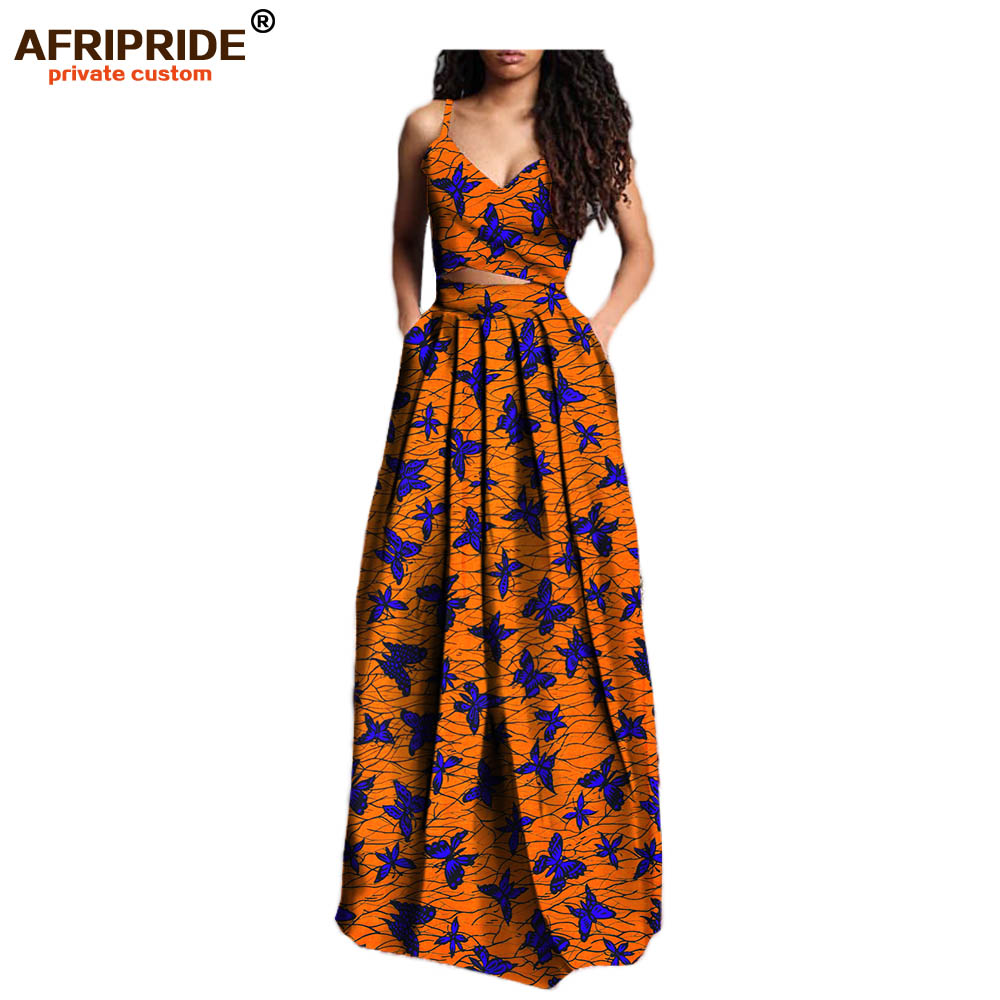 2019 summer suit for women AFRIPRIDE private custom short sleeveless top long pleated skirt plus size