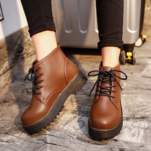 Women Winter Ankle Boots Pu Leather Women Boots Work Shoes Round Toe Lace-Up Women Shoes Black Brown Female Martin Boots A-333 цена