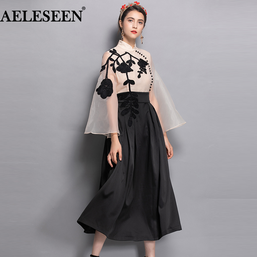 AELESEN Flare long Sleeve Vintage Dresses Fashion Patchwork Organza EmbroideryTurtleneck Beading Autumn 2018 Runway Long Dress