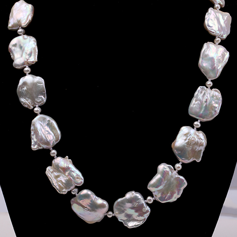 JYX Baroque Pearl Necklace White Freshwater Cultured Baroque Necklace Party Wedding Jewery Gift AAA 16-20