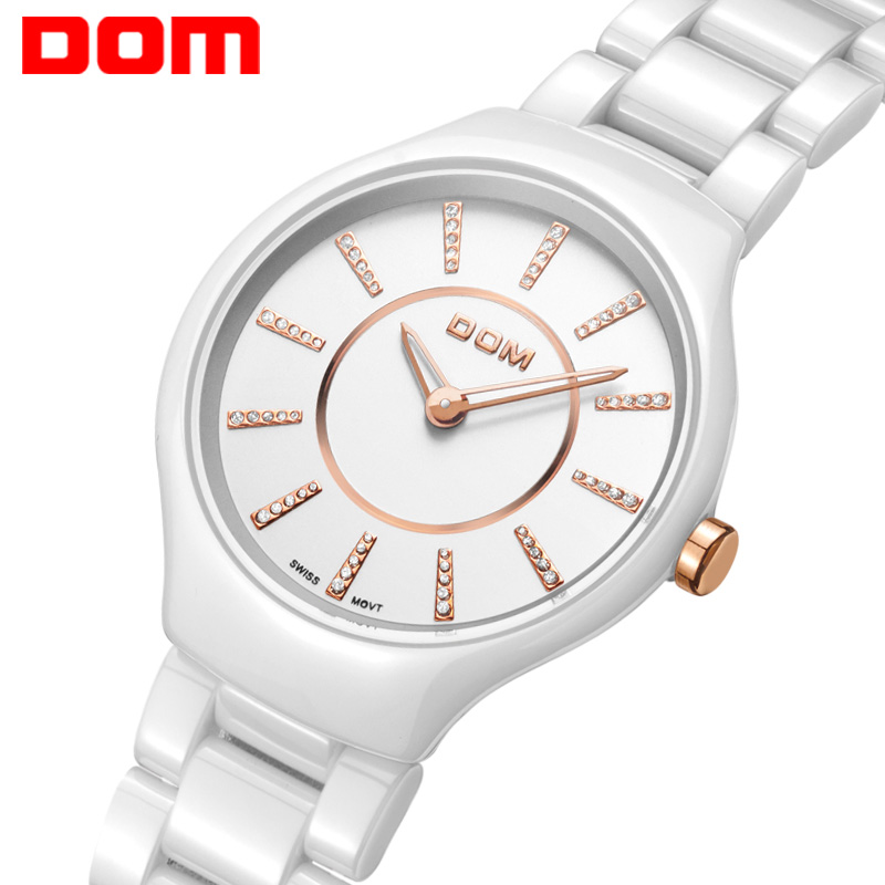 Watch Women DOM brand luxury Fashion Casual quartz ceramic watches Lady relojes mujer women wristwatches Girl Dress clock T520 relojes mujer 2016 fashion luxury brand quartz men women casual watch dress watches women rhinestone japanese style quartz watch