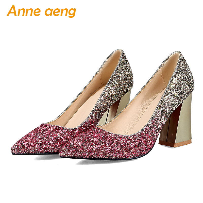 New Women Shoes High Square Heels Pointed Toe Shallow Sexy Ladies Bling Bridal Wedding Shoes Gold Women Pumps Big Size 34-43 connected seamed half sleeves flared ponte dress eggplant 6