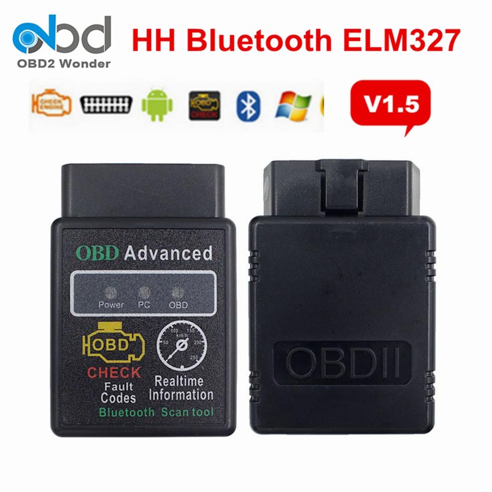 Расширенный диагностический сканер HH OBD ELM327 V1.5 Интерфейс ELM 327 мини Bluetooth Android Windows Torque оборудование 1,5 OBD II