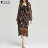 New Arrival 2017 ZANZEA Women Dress Sexy Vintage Embroidery See Through Party Dresses V Neck Casual
