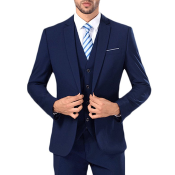 Blue Business Formal Men Suits Notched Lapel Slim Fit Custom Wedding Groom Tuxedos 2018 Three Piece
