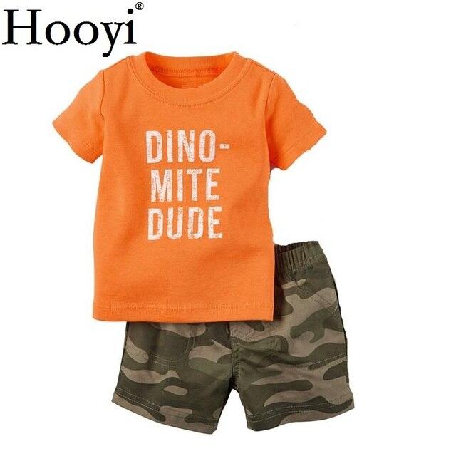Камуфляжный костюм для детей с динозавром комплекты одежды для маленьких мальчиков футболка для младенцев камуфляжные шорты, штаны Одежда для новорожденных 6, 9, 12, 18, 24 месяца