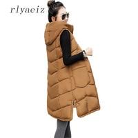 Rlyaeiz Fashion Women Vests Waistcoat 2017 Autumn Winter Mid long Down Cotton Padded Vest Female Sleeveless Jackets Hooded Coats