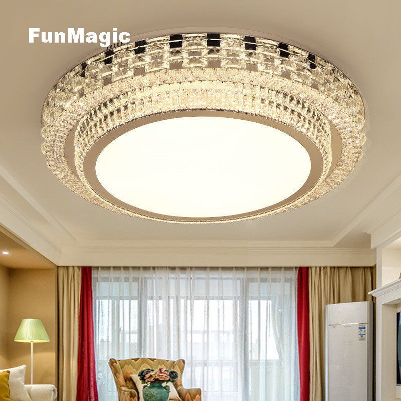 Round Rectangle Post-modern Living Room LED Ceiling Light Crystal Ceiling Lighting Restaurant Bedroom Fixture LED Lamp Dimming