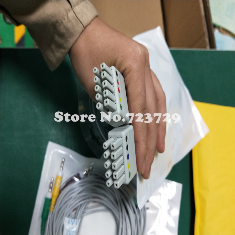 лучшая цена New Compatible with Mortara ECG Cable 10 leadwire all set ECG Cable leadwires IEC Banana 4.0 end