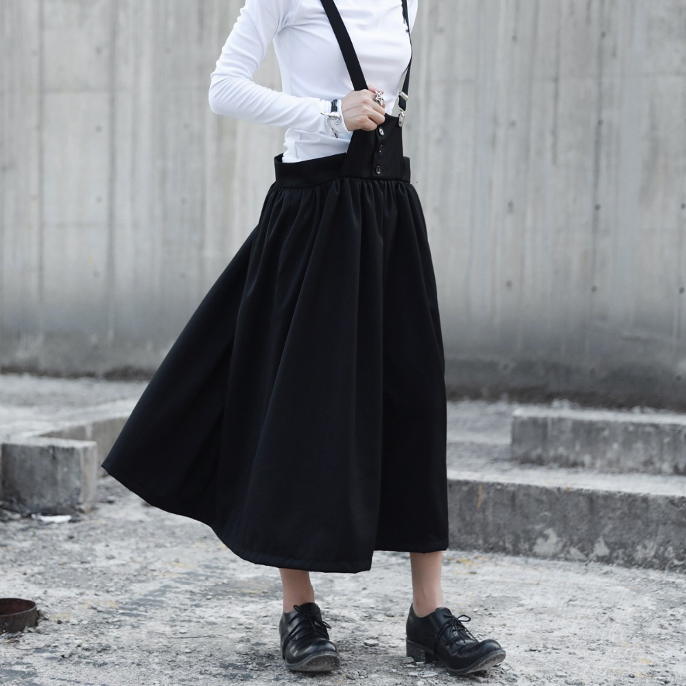 Cakucool New Design Women Solid Black Suspender Skirt Mid Long Ball Gown  Jumpers Normcore Brief Autumn Overalls Skirts-in Skirts from Women s  Clothing on ... 8f8d4c961b33