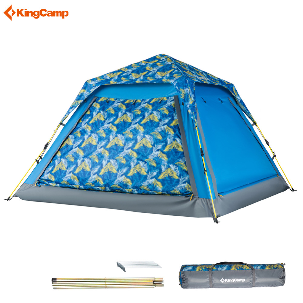 Kingcamp Double Layer Camping Tents 3-4 Person Quick-up Waterproof Ultralight Breathable Outdoor Family Tent for 4 Season Carpa kingcamp camping tent waterproof brand windproof bari fire resistant 4 person 3 season outdoor tent for family camping