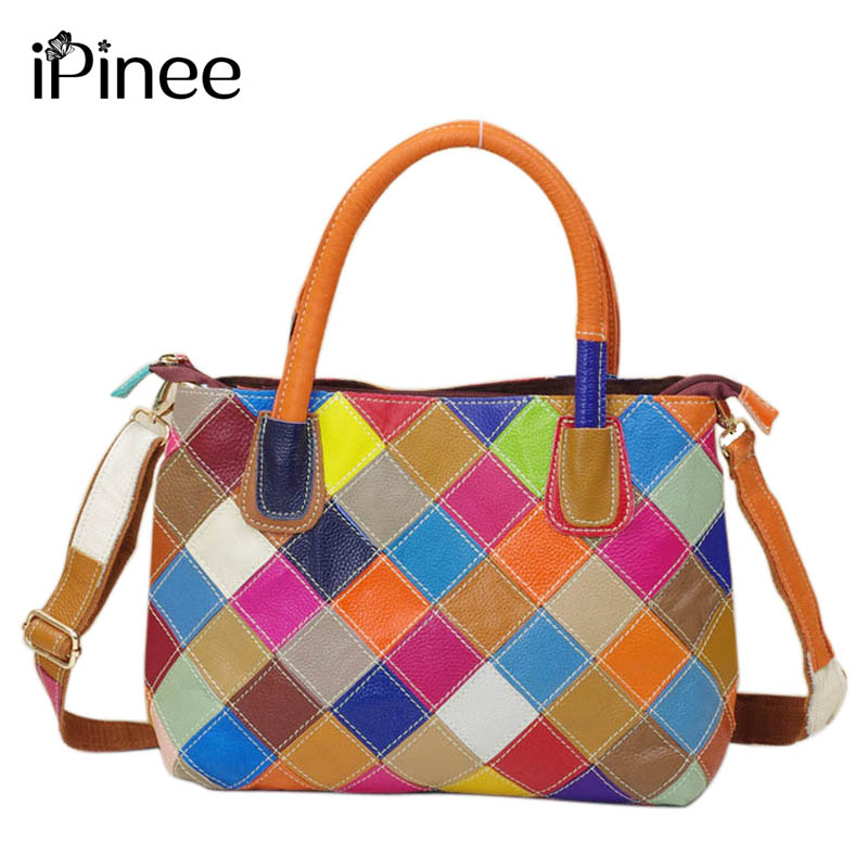Ipinee New Arrival 100 Genuine Leather Patchwork Bag Cowhide Women Shoulder Colorful Handbags In Top Handle Bags From Luggage On