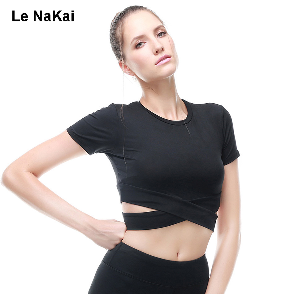 Le NaKai Cut out Cross Yoga Top Fitness gym tank top women workout black sport crop top elastic athletic tops running trouser