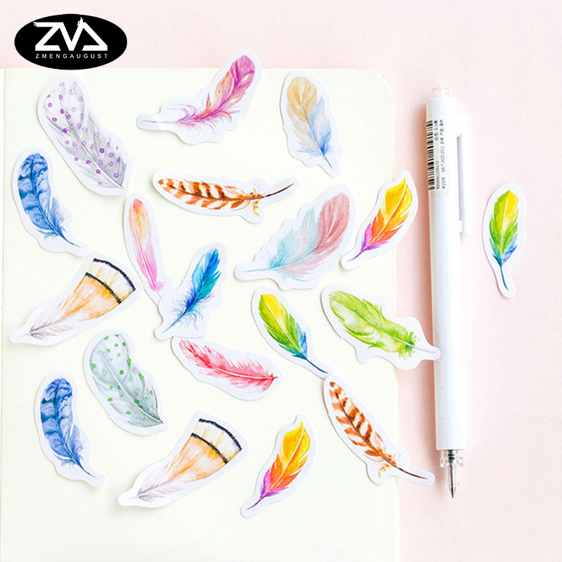 45 Pcs/box cute beautiful feather Mini Paper Decoration DIY Scrapbook Notebook Album Sticker Stationery Kawaii Girl Stickers 45 pcs box classical chinese style stickers diy album adhesive paper scrapbook notebook decoration sticker stationery kids gifts