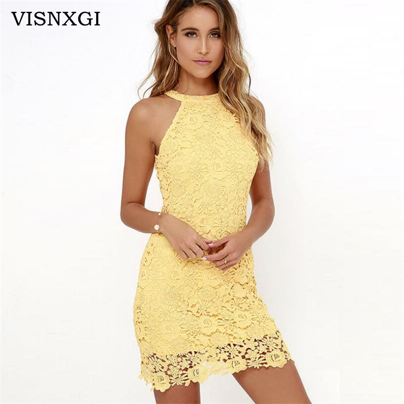 VISNXGI <font><b>2018</b></font> High Quality Womens <font><b>Dresses</b></font> Wedding Party <font><b>Sexy</b></font> <font><b>Night</b></font> <font><b>Club</b></font> Halter Neck <font><b>Sleeveless</b></font> Sheath <font><b>Bodycon</b></font> Lace Mini <font><b>Dress</b></font> image
