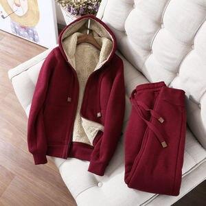 Image 1 - Autumn Winter Sweatshirt Women Plus Velvet Oversized Hoodies Jacket Long Sleeve Sweatshirt Sportswear Warm Womens Hoodies Z64