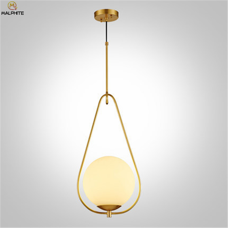 Modern gold pendant lamp white glass ball Restaurant lighting Nordic Simple bedroom lighting luminaire American pendant lightModern gold pendant lamp white glass ball Restaurant lighting Nordic Simple bedroom lighting luminaire American pendant light