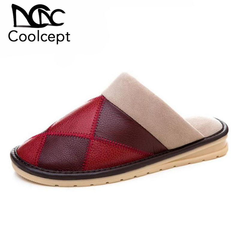 Women Warm Winter Slippers Indoor Home Plush Slippers Fashion Mixed Color Real Leather 6 Colors Woman Slippers Size 34-45
