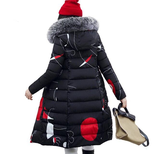 2019 Chất Lượng Cao Phụ Nữ Áo Khoác Mùa Đông Dài Ấm Dày Bông Độn Nữ Winer Coat Parka Với Cổ Áo Lông Thú Womens casaco