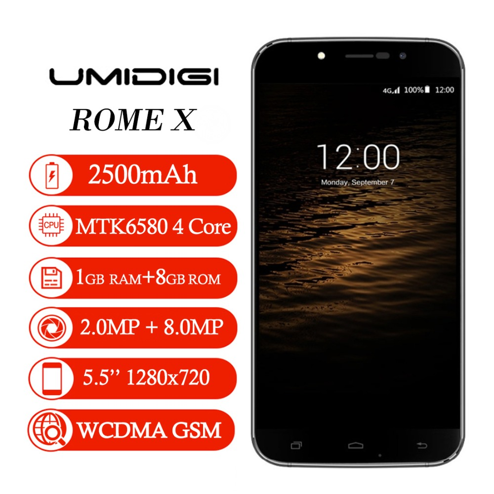 Original UMI ROME X 8GB 3G 5.5 inch Android 5.1 MT6580 Quad-core 1.3GHz RAM 1GB 7.9mm Dual-band WiFi 2500mAh WCDMA Cells Phone