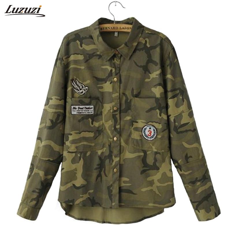 1PC Denim Jacket Women Denim Shirt Military Camouflage Blouse Coat Casual Fashion Jaqueta Feminina Chaquetas Mujer