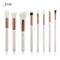 Jessup White Rose Gold Professional Makeup Brushes Set Make Up Brush Tools Kit Foundation Stippling Natural
