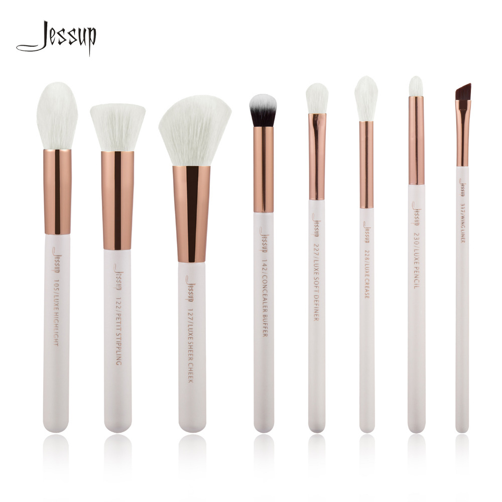 Jessup Pearl White/Rose Gold Professional Makeup Brushes Set Make up Brush Tools kit Foundation Stippling natural-synthetic hair jessup brand rose gold black professional makeup brushes set make up brush tools kit foundation powder natural synthetic hair