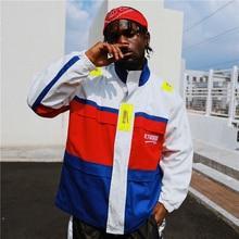 f96b39320fdd8 Bebovizi marca 2018 otoño Streetwear Hip Hop Cool chaqueta Color Block  Patchwork Full Zip Swag chaquetas