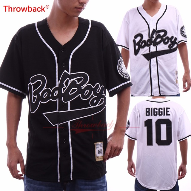 Throwback Men s Biggie Smalls 10 Bad Boy Black White Baseball Jersey Size  S-3XL Free Shipping 102b507a4