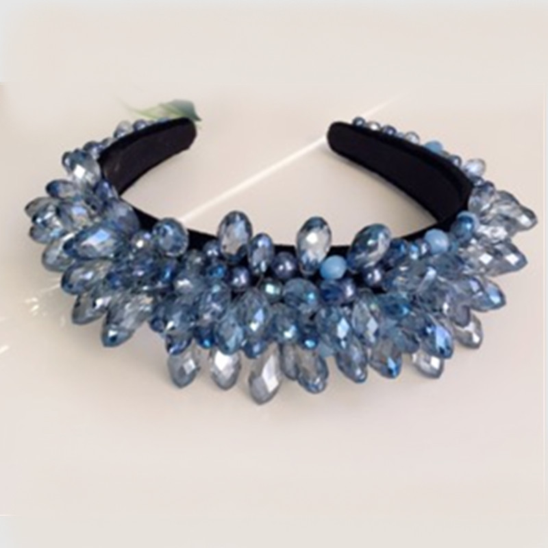 Custom Baroque Crown Tiaras Crystal Beads Shiny Water Drop Hair Bands Wide Headbands Wedding Hair Jewelry Party Hair Accessories