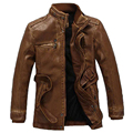 Plus Size PU Leather Jackets For Men European and American Mens Leather Jacket Coat Long Mens Leather Windbreaker Winter S2506