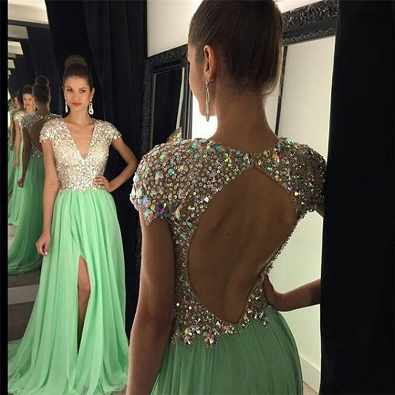 2016 Hot Sparkly Backless Crystal Beads Cap short Sleeves V Neck Chiffon Front Split Green Evening