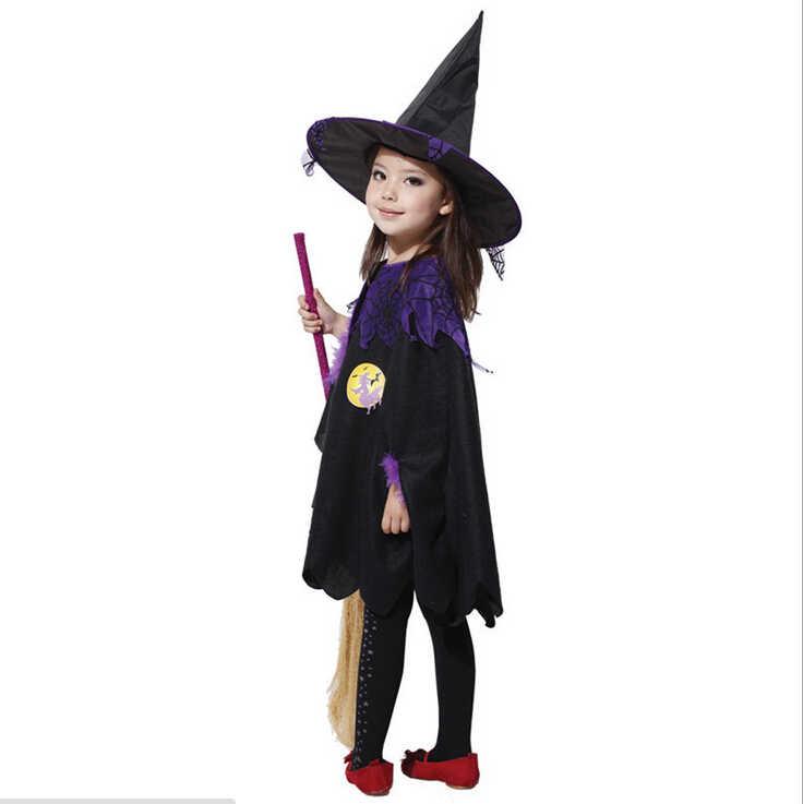 Halloween anak Hari Anak Anak-anak Bayi perempuan Jubah + topi Penyihir Kostum Cosplay Kinerja Pakaian