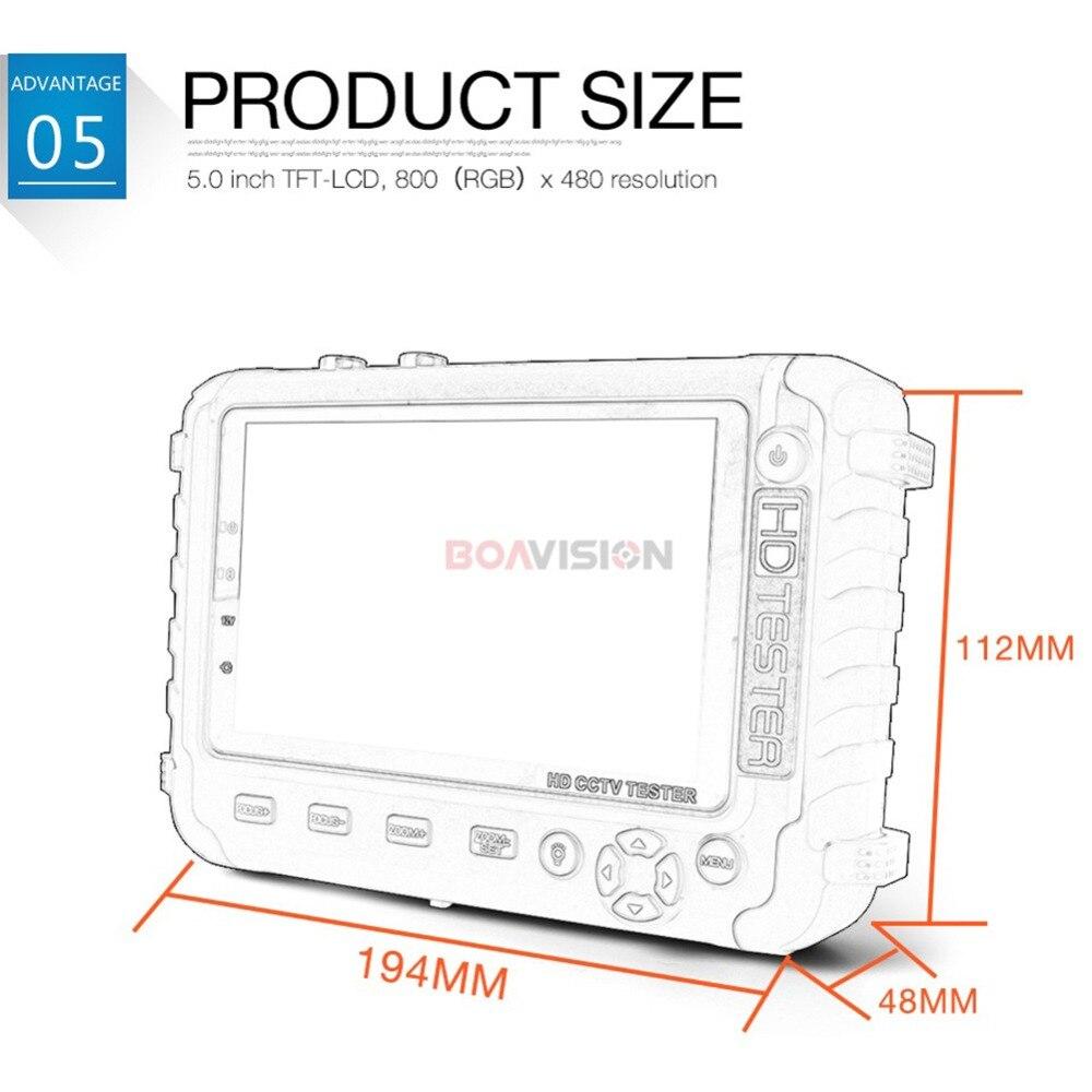 1080 P 4 en 1 TVI AHD CVI testeur de caméra de vidéosurveillance analogique 5 pouces TFT LCD intégré testeur de sécurité de la batterie moniteur Test Audio vidéo - 5