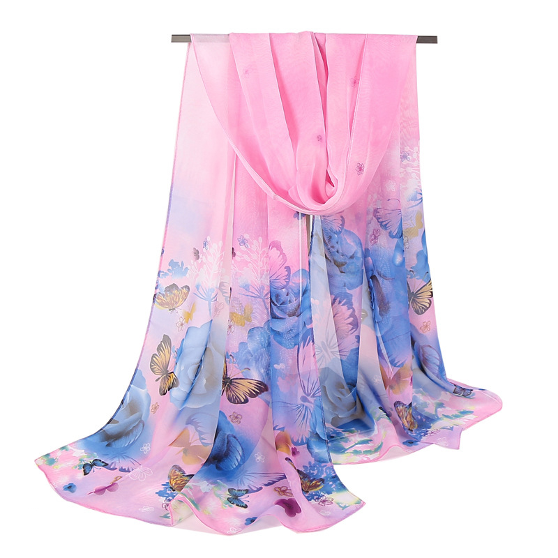 Scarf for Women 2018 High Quality New Style Butterfly Voile Soft Long Silk Scarf Printed Wrap Shawl Stole Scarves Chiffon Shawl