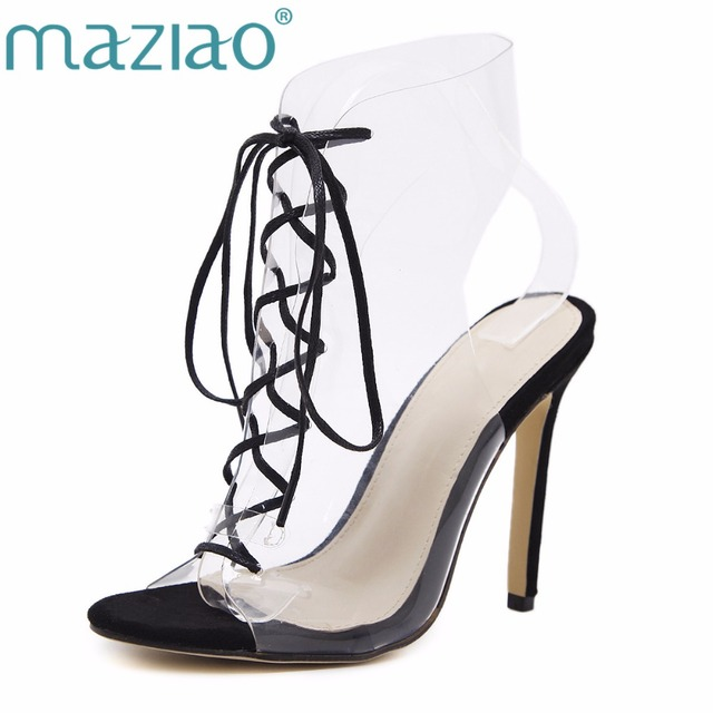 37952095a4af14 MAZIAO Women Gladiator PVC Transparent High Heels Shoes Lace-Up Party  Wedding Sandals Ladies Sexy Cross-tied Stiletto sh