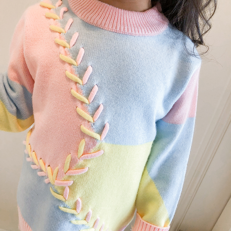 MQ Winter Baby Girl Sweater Series 2018 Autumn Children Clothing Sweaters Knitted Pullover O-neck Lace Up Kids Clothes K83C116B girl sweaters hooded pullover kids knitted sweater girl clothing autumn winter cardigan clothes